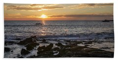 Paddlers At Sunset Horizontal Beach Towel by Denise Bird