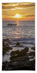 Paddlers At Sunset Portrait Beach Sheet by Denise Bird