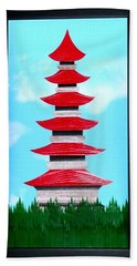 Beach Towel featuring the mixed media Pagoda by Ron Davidson