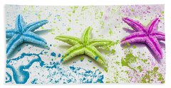 Paint Spattered Star Fish Beach Towel