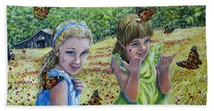 Painted Ladies Beach Towel by Gail Butler