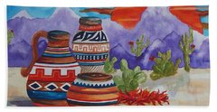 Painted Pots And Chili Peppers Beach Towel by Ellen Levinson