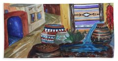 Painted Pots And Chili Peppers II  Beach Towel by Ellen Levinson