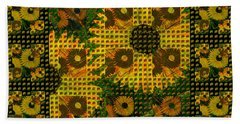 Painted Sunflower Abstract Beach Sheet by Barbara Moignard