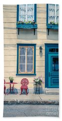 Painted Townhouse In Old Quebec City Beach Towel