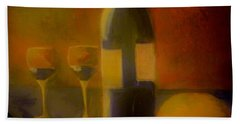 Beach Towel featuring the painting Painting And Wine by Lisa Kaiser