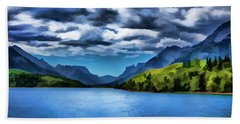 Painting Of A Lake And Mountains Beach Towel