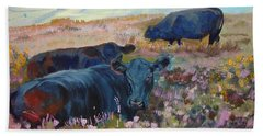 Painting Of Three Black Cows In Landscape Without Sky Beach Towel