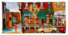 Paintings Of  Famous Montreal Places St. Viateur Bagel City Scene Beach Towel