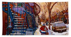 Paintings Of Montreal Beautiful Staircases In Winter Walking Home After The Game By Carole Spandau Beach Sheet