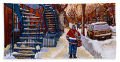Paintings Of Montreal Beautiful Staircases In Winter Walking Home After The Game By Carole Spandau Beach Towel