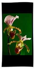 Pair Of Lady Slipper Orchids Beach Towel
