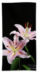 Pale Pink Asiatic Lilies Beach Towel by Judy Whitton