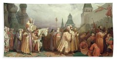 Palm Sunday Procession Under The Reign Of Tsar Alexis Romanov Beach Towel