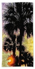 Palm Sunset Beach Sheet by Kathy Bassett