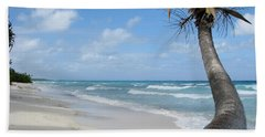 Palm Tree On The Beach Beach Towel