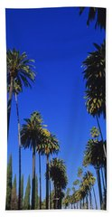 Palm Trees Along A Road, Beverly Hills Beach Towel by Panoramic Images