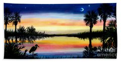 Palmetto Tree Moon And Stars Low Country Sunset IIi Beach Towel