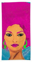 Pam Grier Bold Diva C1979 Pop Art Beach Sheet by Saundra Myles