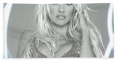 Pamela Anderson - Angel Rays Of Light Beach Sheet by Absinthe Art By Michelle LeAnn Scott