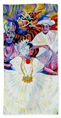 Beach Towel featuring the painting Panama Carnival. Fiesta by Anna  Duyunova
