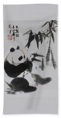 Panda And Bamboo Beach Towel by Yufeng Wang