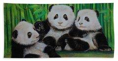 Panda Cubs Beach Towel by Jean Cormier