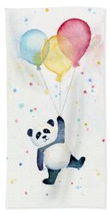 Panda Floating With Balloons Beach Towel