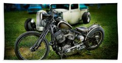 Panhead Harley And Ford Pickup Beach Towel