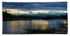 Pano Denali Midnight Sunset Beach Sheet