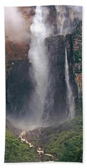 Panorama Angel Falls In Canaima National Park Venezuela Beach Towel