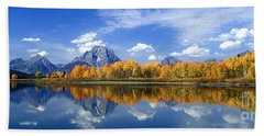 Panorama Fall Morning At Oxbow Bend Grand Tetons National Park Beach Towel