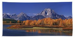 Beach Towel featuring the photograph Panorama Fall Morning Oxbow Bend Grand Tetons National Park Wyoming by Dave Welling