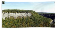 Panorama Of Cliff At Letchworth State Park Beach Sheet