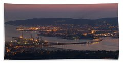 Panorama Of Ferrol From Mount Marraxon Galicia Spain Beach Towel