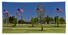 Beach Towel featuring the photograph Panorama Of Flags - Veterans Memorial Park by Allen Sheffield
