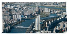 Panorama Of Tokyo Beach Towel by Jill Mitchell