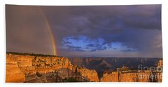 Beach Towel featuring the photograph Panorama Rainbow Over Cape Royal North Rim Grand Canyon National Park by Dave Welling