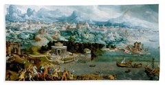 Panorama With The Abduction Of Helen Amidst The Wonders Of The Ancient World Beach Towel