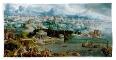 Panorama With The Abduction Of Helen Amidst The Wonders Of The Ancient World Beach Sheet