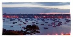 Panoramic Of The Marblehead Illumination Beach Towel
