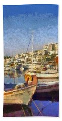 Panoramic Painting Of Mikrolimano Port Beach Towel