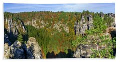Panoramic View Of The Elbe Sandstone Mountains Beach Sheet