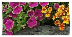 Pansies And Petunias Beach Towel by Patricia Strand