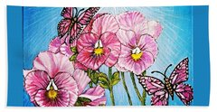 Pansy Pinwheels And The Magical Butterflies With Blue Skies Beach Towel