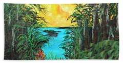 Beach Sheet featuring the painting Panther Island In The Bayou by Alys Caviness-Gober