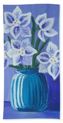 Paper Whites In A Blue Vase Beach Towel