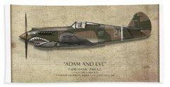 Pappy Boyington P-40 Warhawk - Map Background Beach Towel
