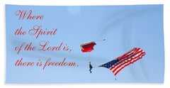 Beach Towel featuring the photograph Parachuting With Old Glory by Connie Fox