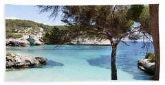 Paradise In Minorca Is Called Cala Mitjana Beach Where Sand Is Almost White And Sea Is A Deep Blue  Beach Sheet by Pedro Cardona